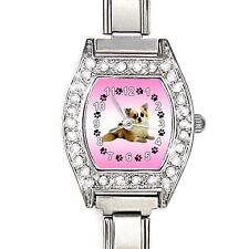 Chihuahua Dog CZ Lady Stainless Steel Italian Charm Bracelet Wrist Watch BJ1117