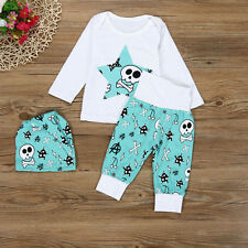 Newborn Baby Boys Girls Skull Tops T-shirt Blouse+Pants Outfits Clothes Set