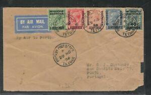 MOROCCO AGENCIES (P3005B) KGV 1934  A/M COVER TETUAN TO PORTUGAL 5 DIFF VALUES