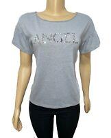 VICTORIAS SECRET ANGEL Sequin Crew-Neck Tee T-Shirt Top Gray