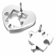 MENDINO Men's Stainless Steel Pendant Necklace 2pcs Couples Puzzle Heart Love