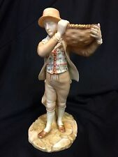 Antique Royal Worcester Porcelain Figurine of Boy Holding a Basket, c.1900