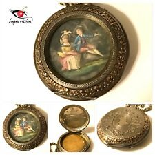 Antique Painting Pendant Necklace 800 German Silver Signed Beautiful Rare