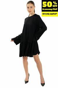 TWIST & TANGO Crepe Flounce Dress Size 36 XS-S  Black  Keyhole Long Sleeve