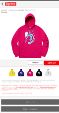 "Supreme x Daniel Johnston ""Silver Sufferer"" Hooded Sweatshirt Fuchsia 2020 LARGE"