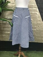 Original Vintage 1970s Gingham Blue And White Cotton Blend Skirt With Pockets