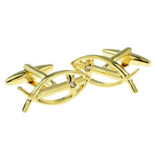 Gold Plated Ichthus Fish with Crystal Cross Religious Cufflinks in a Box X2AJ171