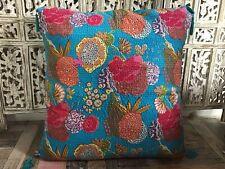 SALE Turquoise Blue Kantha Extra Large Cotton Cushion Floor Cushion 80 x 80 cm