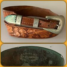 Tooled Leather Belt Buckle 34 Western Vtg Renalde Solid Nickel Denver Colorado