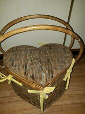 "Heart Shape Quilted and Wicker PICNIC BASKET Large  USED  14"" X 9H"