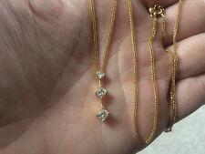 14K SOLID GOLD ITALY  NECKLACE SLIDING  ADJUST, DIAMOND PAST PRESENT FUTURE