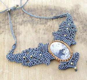 Macrame Necklace Pendant Jewelry Solar quartz Cabochon Stone Handmade Bohemian