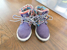 Timberland Toddlers 9785R Ankle Boot Purple Suede Knit Top Trim VGUC sz 6 SWEET