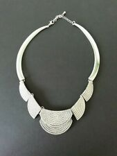 Silver Tone Metal Statement Power Necklace Chain Effect Brutalist Modernist