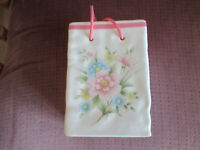 FTDA 1986 Vintage  Floral Ceramic Gift Bag With Strings or a vase or a planter
