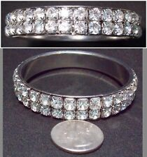Stunning Vtg Heavy 2-Row Prong-Set White Rhinestone Bangle Bracelet ST 8.25""