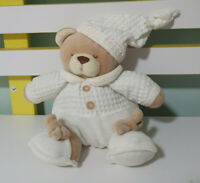 NUZZLES TEDDY BEAR ROUND BEAR IN WHITE SQUARE PATTERN AND NIGHTCAP BABY CUDDLES