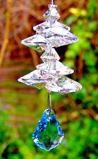 Crystal Aquamarine Web Leaf Cascade Sun Catcher Made with Swarovski Parts