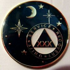 Black Gold Moon Alcoholics Anonymous Aa 30 Year Medallion Token Coin Chip sober