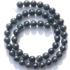 "GR1141 Dark Green Natural B.C. Nephrite Jade 8mm Round Gemstone Beads 16"""