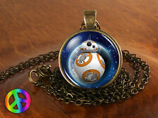 Handmade Star Wars Movie BB8 BB-8 Robot Glass Necklace Pendant Jewelry Art Gift