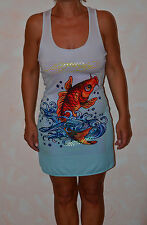 Pretty Dress Gray And Blue ED HARDY Fish S NEW SIZE Label