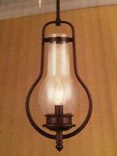 Mini Pendant Light 1 Bulb Seeded Glass Vintage  Shade Oil-Rubbed Bronze