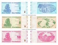 Zimbabwe 1 + 5 + 10 Dollars 2009 Set of 3 Banknotes 3 PCS UNC