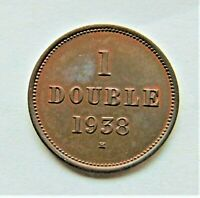 1938H GUERNSEY 1 Double, Brown some orange grading UNCIRCULATED.