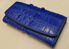 Genuine Crocodile Alligator Wallet Skin Leather Tail Trifold Women's Blue Clutch