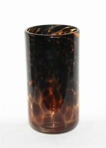 "Rachel Ray Thick Heavy Leopard Tortoise Shell 6"" Rounded Bottom Glass Tumbler"