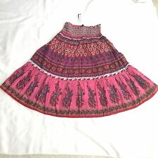Chaudry KC skirt lined multi-colored tiered 100% cotton skirt size L   NWT