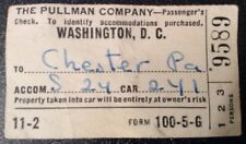 Rare 'The Pullman Company' Train Ticket 'Washington DC To Chester PA' 30-03-1943