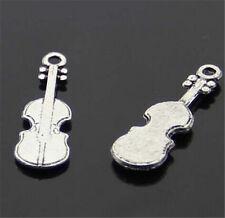 PJ245B 50pcs Tibetan Silver violin Charm Beads Pendant accessories Wholesale
