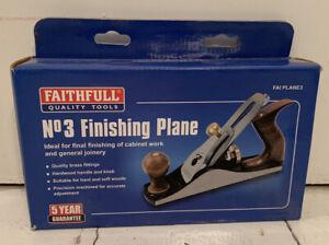 Faithfull No.3 Woodwork/Carpenters Finishing Plane - Wooden Handles - Boxed
