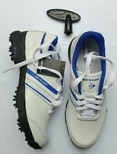 New listing Dunlop Junior Golf Shoe White Blue Size 4 Tour Shoe  Leather Cleats Pins