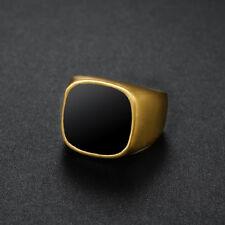 Mens Signet Biker Rings Solid Polished Enamel Stainless Steel Ring for Men