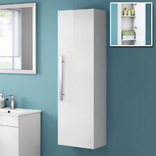 Tall White Wall Mounted Bathroom Furniture Cabinet Storage Unit 1200mm