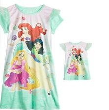 "Disney Princess Rapunzel Ariel Mulan Girl Nightgown & Matching 18"" Doll Gown 4"
