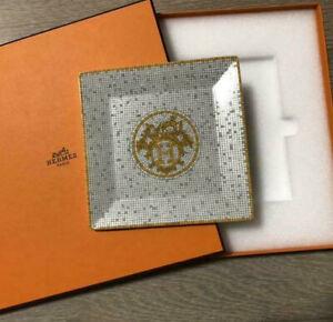 Hermes Paris Mosaique au 24 Platinum Tray Decorative Plate 15 x 15 cm New in Box