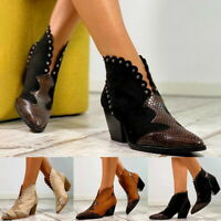 Women's Retro High Heel Boots Popular Snake Print Western Cowgirl Fashion.
