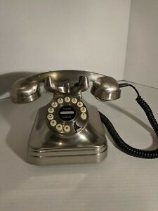 Pottery Barn Grand Vintage Retro Style Metallic Silver Push Button Telephone
