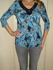 Pfeffinger Damen Bluse Shirt Gr.38 Paisley Muster blau schwarz hippie TopZustand