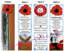 3 Lot-VETERANS Day BOOKMARK Poppy POPPIES Flanders Fields Armistice Remembrance