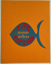 Vintage Original Menu FISH FACTORY Seafood & Spirits Restaurant San Diego Ca.