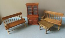 Lot of 4 Vintage Wooden DOLL HOUSE FURNITURE Pieces Bookcase BENCH Table