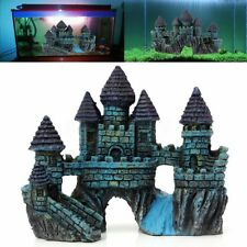 Resin Ancient Aquarium Blue Castle Ruin Fish Tank Ornaments Decor Scenery Gift