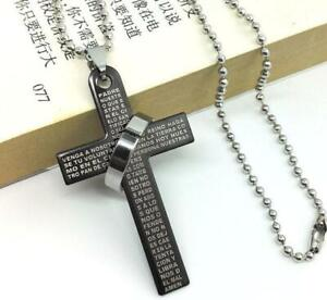"""Cross Lords Prayer Black Necklace pendant with 20"""" chainby JR (UK SELLER )"""