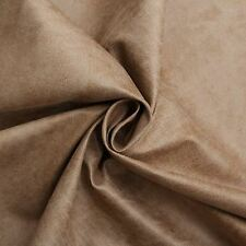 Aged Brown Distressed Antiqued Suede Faux Leather Leatherette Upholstery Fabric Beige