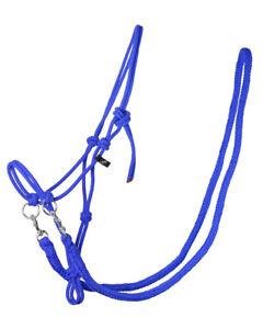 QHP Knotenhalfter mit Zügeln robustes 10 mm dickes Seil 7 Farben 4 Größen